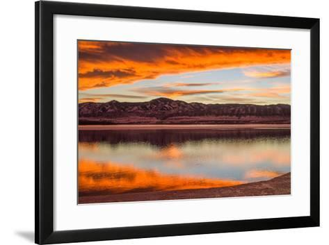 Sunset Spring Mountain Lake - Colorful Stormy Clouds Rolling over a Melting Ice Lake-Sean Xu-Framed Art Print