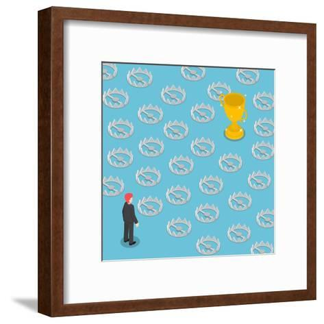 Isometric Difficult Path to Success Full of Traps, Business Obstacle Concept-Chaichan Ingkawaranon-Framed Art Print