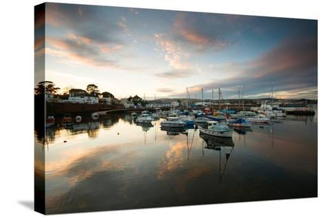 Dusk in the Harbour at Paignton, Devon England UK-Tracey Whitefoot-Stretched Canvas Print