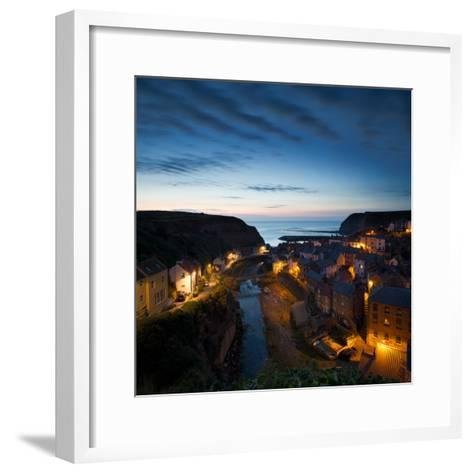 The Fishing Village of Staithes on the Yorkshire Coast, Just before Dawn-John Potter-Framed Art Print