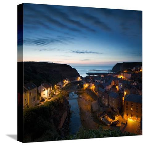 The Fishing Village of Staithes on the Yorkshire Coast, Just before Dawn-John Potter-Stretched Canvas Print
