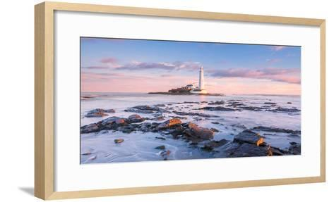 Sunrise and Sea over St Mary's Lighthouse, Whitley Bay, Tyne and Wear-Andy Redhead-Framed Art Print