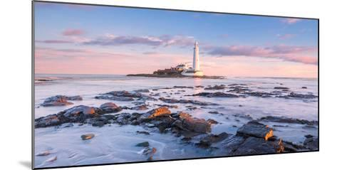 Sunrise and Sea over St Mary's Lighthouse, Whitley Bay, Tyne and Wear-Andy Redhead-Mounted Photographic Print