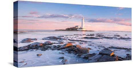 Sunrise and Sea over St Mary's Lighthouse, Whitley Bay, Tyne and Wear-Andy Redhead-Stretched Canvas Print