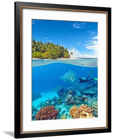 Underwater Photography with Tropical Island-Jakub Gojda-Framed Art Print