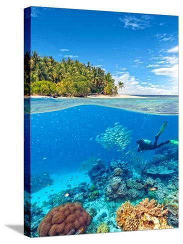 Underwater Photography with Tropical Island-Jakub Gojda-Stretched Canvas Print