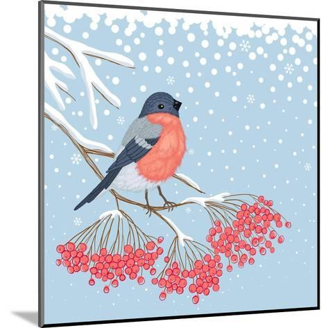 Winter Card with Bullfinch on the Branch of Rowan-Scarlet Starlet-Mounted Art Print