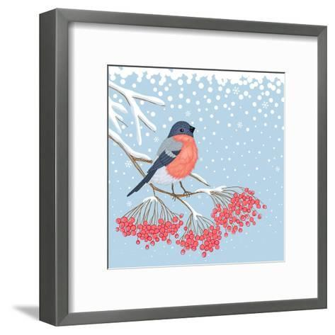 Winter Card with Bullfinch on the Branch of Rowan-Scarlet Starlet-Framed Art Print
