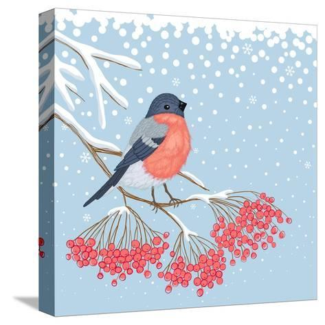 Winter Card with Bullfinch on the Branch of Rowan-Scarlet Starlet-Stretched Canvas Print