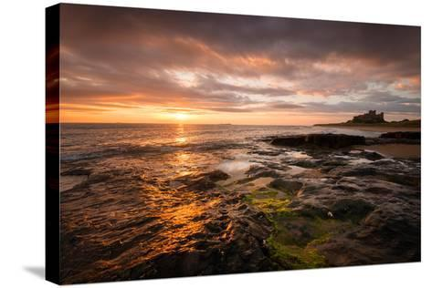 Sunrise on the Beach at Bamburgh, Northumberland UK-Tracey Whitefoot-Stretched Canvas Print