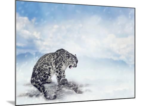 Snow Leopard Sitting on the Rock-Svetlana Foote-Mounted Photographic Print