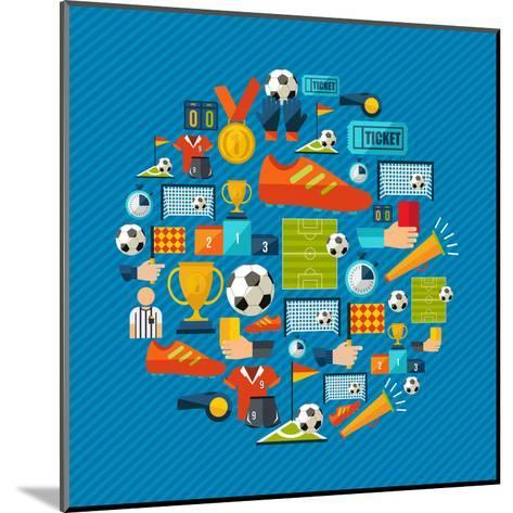 Soccer Champions Icons Set Shape Circle Organized in Layers for Easy Editing-Cienpies Design-Mounted Art Print