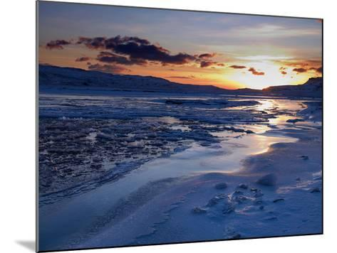 Sunset and Ice Crystals in the Water, Holtavorduheidi, Iceland-Ragnar Th Sigurdsson-Mounted Photographic Print