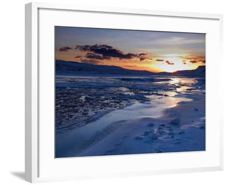 Sunset and Ice Crystals in the Water, Holtavorduheidi, Iceland-Ragnar Th Sigurdsson-Framed Art Print