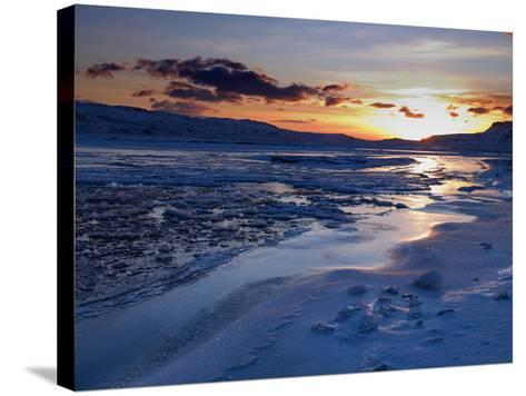 Sunset and Ice Crystals in the Water, Holtavorduheidi, Iceland-Ragnar Th Sigurdsson-Stretched Canvas Print