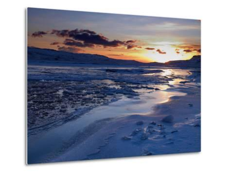 Sunset and Ice Crystals in the Water, Holtavorduheidi, Iceland-Ragnar Th Sigurdsson-Metal Print
