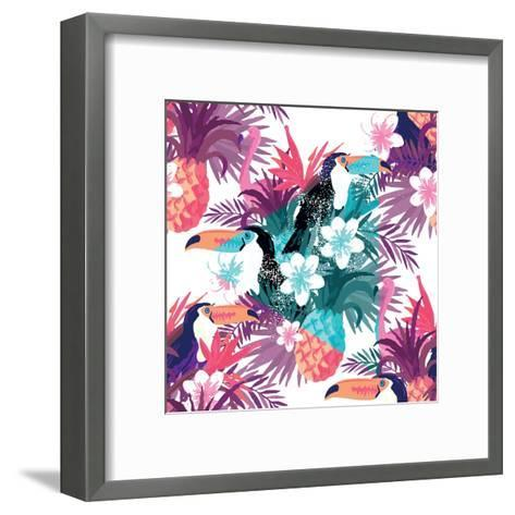 Tropical Abstract Vector. Seamless Illustration-James Thew-Framed Art Print