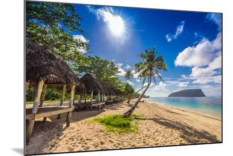 Tropical Beach with a Coconut Palm Trees and a Beach Fales, Samoa Islands-Martin Valigursky-Mounted Photographic Print
