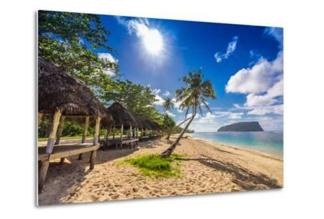 Tropical Beach with a Coconut Palm Trees and a Beach Fales, Samoa Islands-Martin Valigursky-Metal Print