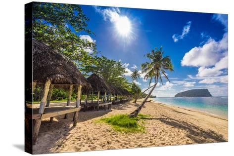 Tropical Beach with a Coconut Palm Trees and a Beach Fales, Samoa Islands-Martin Valigursky-Stretched Canvas Print