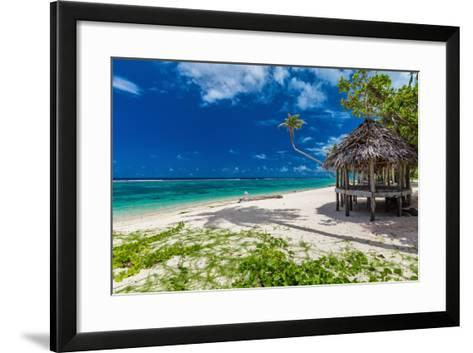 Tropical Vibrant Natural Beach on Samoa Island with Palm Tree and Fale-Martin Valigursky-Framed Art Print