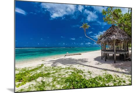 Tropical Vibrant Natural Beach on Samoa Island with Palm Tree and Fale-Martin Valigursky-Mounted Photographic Print