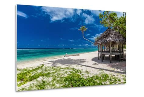 Tropical Vibrant Natural Beach on Samoa Island with Palm Tree and Fale-Martin Valigursky-Metal Print
