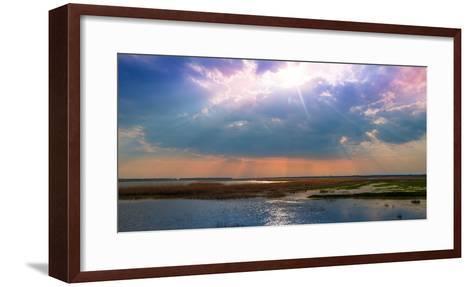 Summer Sunset over the Tranquil Lake-Liviu Pazargic-Framed Art Print