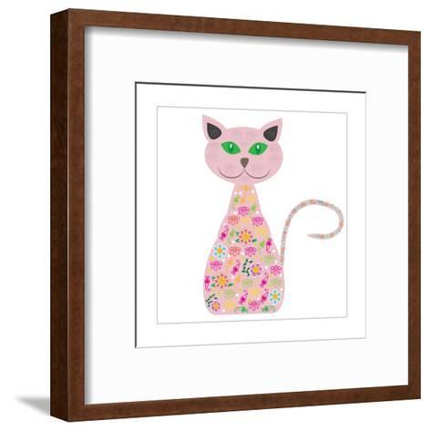 Silhouette of a Cat with Pretty Flowers on a White-Luizavictorya72-Framed Art Print