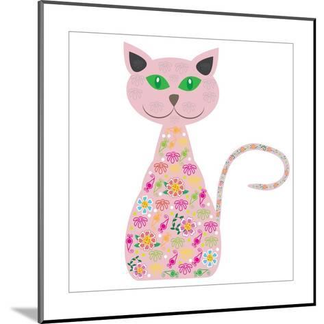 Silhouette of a Cat with Pretty Flowers on a White-Luizavictorya72-Mounted Art Print
