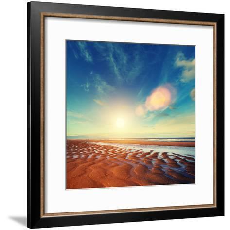 Sun Sand Ripples - Lincolnshire Coast-Blue Sky-Framed Art Print