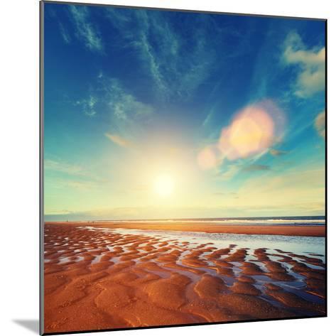 Sun Sand Ripples - Lincolnshire Coast-Blue Sky-Mounted Photographic Print