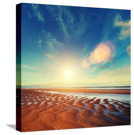 Sun Sand Ripples - Lincolnshire Coast-Blue Sky-Stretched Canvas Print