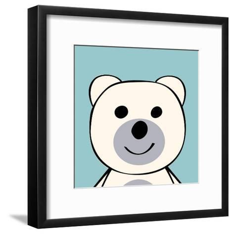 White Bear Funny Cartoon Animal Toy-Elena Kozyreva-Framed Art Print