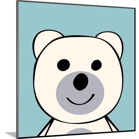 White Bear Funny Cartoon Animal Toy-Elena Kozyreva-Mounted Art Print