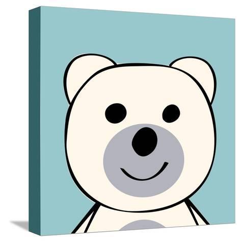 White Bear Funny Cartoon Animal Toy-Elena Kozyreva-Stretched Canvas Print