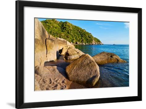 Stone in Thailand Kho Tao Bay Abstract of a Blue Lagoon in Water South China Sea-lkpro-Framed Art Print