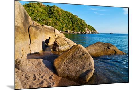Stone in Thailand Kho Tao Bay Abstract of a Blue Lagoon in Water South China Sea-lkpro-Mounted Photographic Print