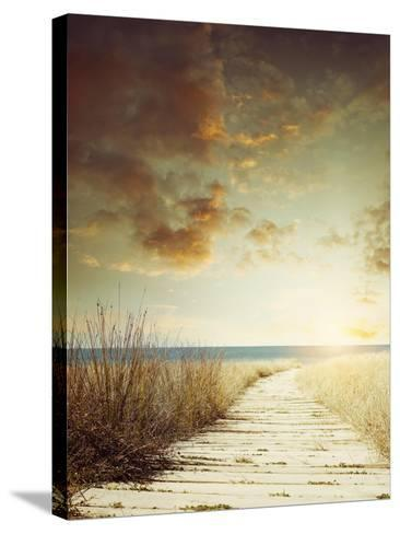 Walkway Leading to Beach Scene- Supapixx-Stretched Canvas Print