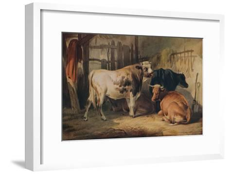 A Bull and three Cows in a Stable, c1856-Thomas Sidney Cooper-Framed Art Print