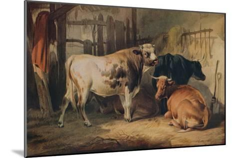 A Bull and three Cows in a Stable, c1856-Thomas Sidney Cooper-Mounted Giclee Print
