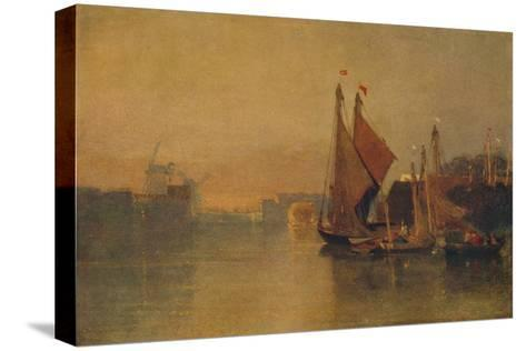 View from Yarmouth Bridge, Norfolk, Looking towards Breydon, Just after Sunset, c1823-John Sell Cotman-Stretched Canvas Print