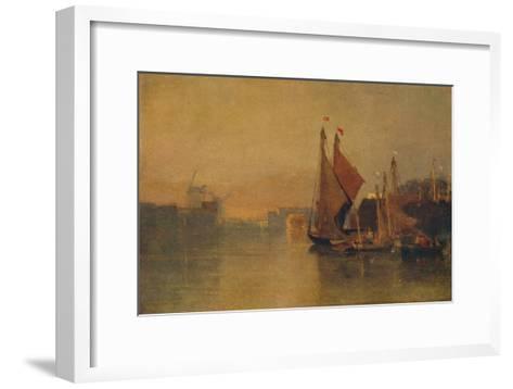 View from Yarmouth Bridge, Norfolk, Looking towards Breydon, Just after Sunset, c1823-John Sell Cotman-Framed Art Print