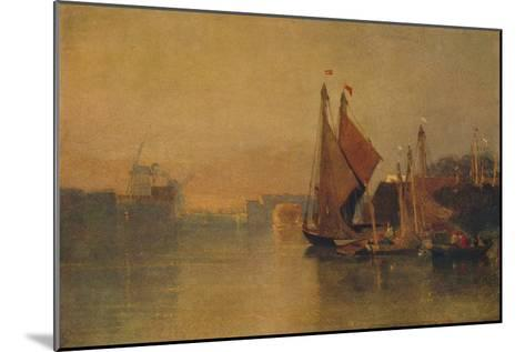View from Yarmouth Bridge, Norfolk, Looking towards Breydon, Just after Sunset, c1823-John Sell Cotman-Mounted Giclee Print
