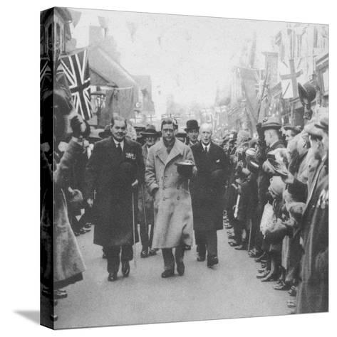 The Prince of Wales greeted by the people of Porth, Glamorgan, during a visit to Wales, 1932 (1936)--Stretched Canvas Print