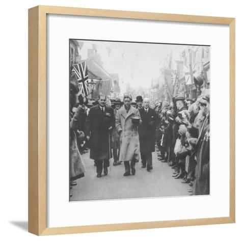 The Prince of Wales greeted by the people of Porth, Glamorgan, during a visit to Wales, 1932 (1936)--Framed Art Print