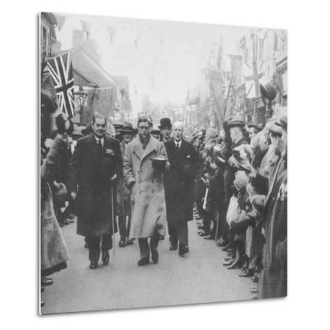 The Prince of Wales greeted by the people of Porth, Glamorgan, during a visit to Wales, 1932 (1936)--Metal Print