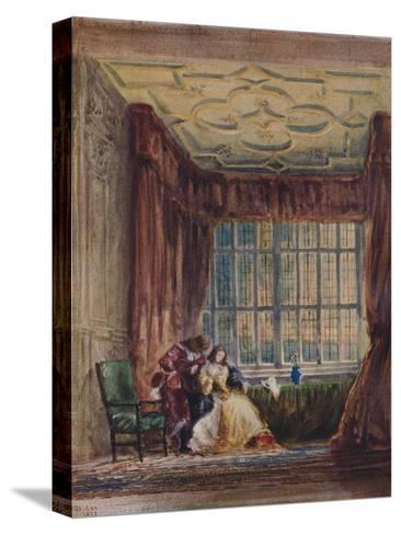 The interior of the long gallery, Haddon Hall, Derbyshire, 1833-David Cox the elder-Stretched Canvas Print