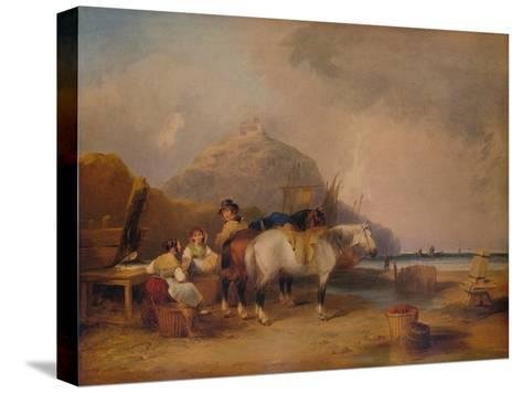 Coast Scene, with Figures and Horses, c1841-William Shayer-Stretched Canvas Print
