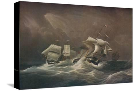 H.M.S. Indefatigable Engaging The French Droits-De-LHomme,1797, 1829-Edward Duncan-Stretched Canvas Print